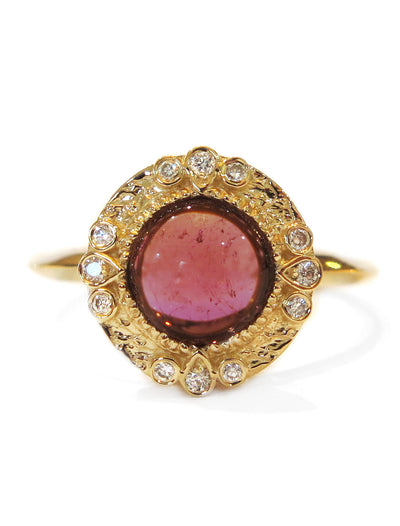 Lucette Pink Tourmaline & Diamond <br/> Halo Engagement Ring