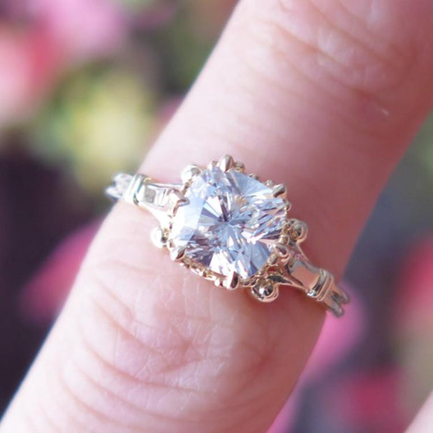 Lulu cushion cut diamond engagement ring with vintage details in yellow gold
