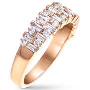 "Diamond ""Madrid"" engagement and wedding band in rose gold by Dana Walden Bridal - side image"