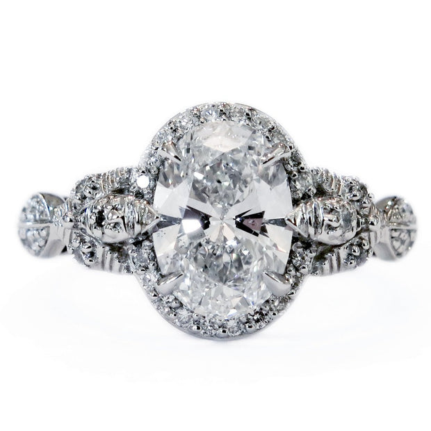 Unique nature inspired diamond halo on platinum with conflict free diamonds - Maiya