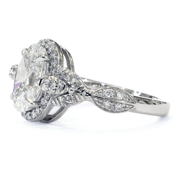 Nature inspired halo in platinum with diamonds  - side profile - Maiya