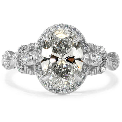 Maiya 1.50 carat Oval Engagement Ring with Diamond Halo and Nature Inspired Organic Design
