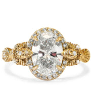 Maiya Unique Oval Diamond Engagement Ring in Yellow Gold with Nature Inspired Custom Design