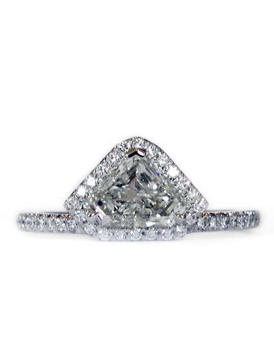 Kite Shape Geometric Diamond Engagement Ring - Diamond Halo