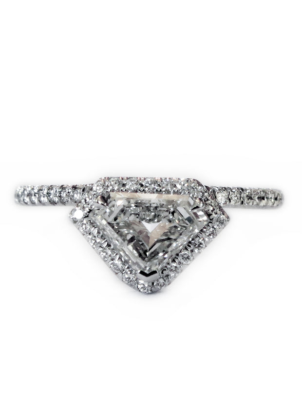 Unique kite shaped diamond halo engagement ring in white gold by Dana Walden Bridal NYC