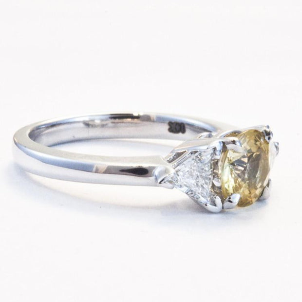 Marigold Custom 3 Stone Engagement Ring Yellow Sapphire with Triangle Diamond Accents in White Gold designed by Dana Walden Chin (Dana Chin) and Radika Chin for Dana Walden Bridal Side View