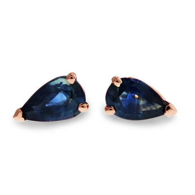 blue sapphire stud earrings in pear shape rose gold