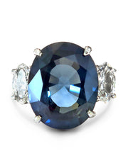 Masha unique vintage blue sapphire engagement ring with diamond side stones in platinum