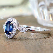 Milena Affordable Blue Sapphire Engagement Ring with Diamond Halo in 14k White Gold