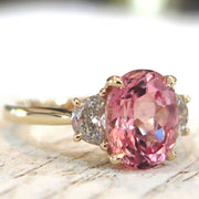 3.76 Peach Sapphire Engagement Ring in Yellow Gold & Oval Cut Padparadscha Nontraditional Alternative Custom