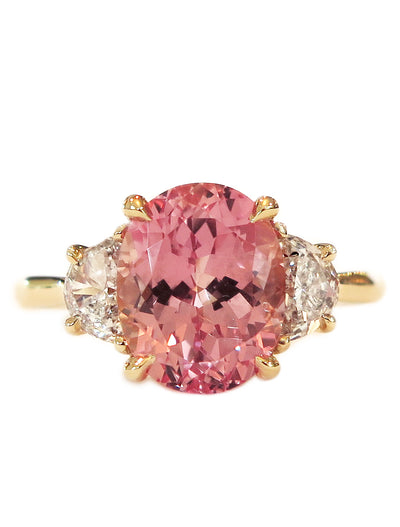 3.76 Carat Peach Sapphire Engagement Ring in Padparadscha with Three Stone Setting in Yellow Gold & Half Moon Diamonds