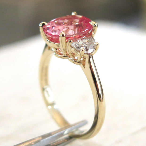 3.76 Carat Peach Sapphire Engagement Ring Diamond Alternative Nontraditional in Padparadscha with Yellow Gold