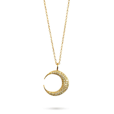 Crescent moon pendant with pave diamonds, set in 14k yellow gold. Yellow gold chain is adjustable and all pieces are handmade by Dana Walden NYC.