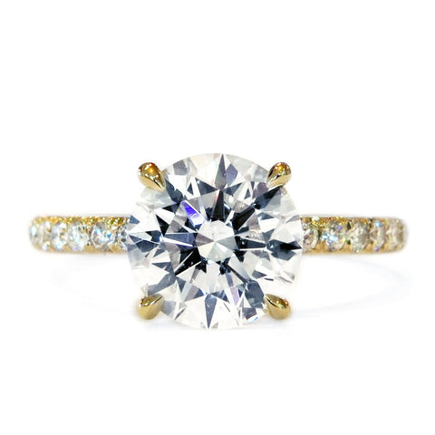 Classic Diamond Solitaire in Yellow Gold with Thin Micro-pavé Band, NYC