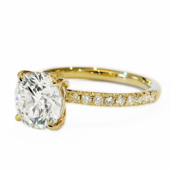 ... MORGANA DIAOMOND RING; Classic Diamond Solitaire in Yellow Gold with  Thin Micro-pavé Band, NYC ...