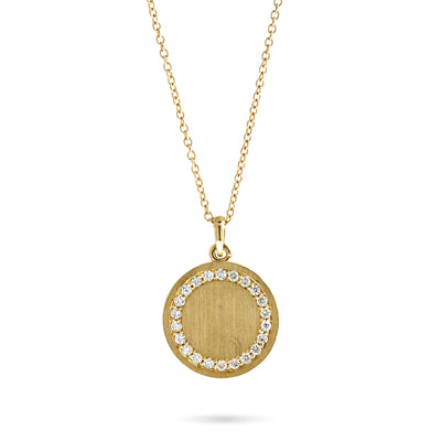 Olea monogram pendant necklace with diamonds custom yellow gold adjustable chain