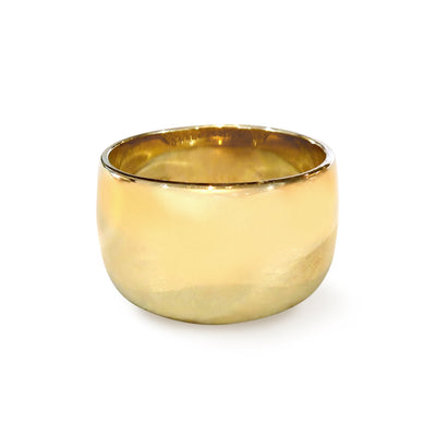 Haylee wide gold cigar band ring in 14k yellow gold