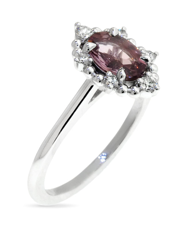Mauve sapphire and diamond halo engagement ring in white gold by Dana Walden Bridal