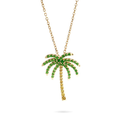 Havana Palm Tree Necklace Paved with Sapphire & Tsavorite Garnets in Yellow Gold