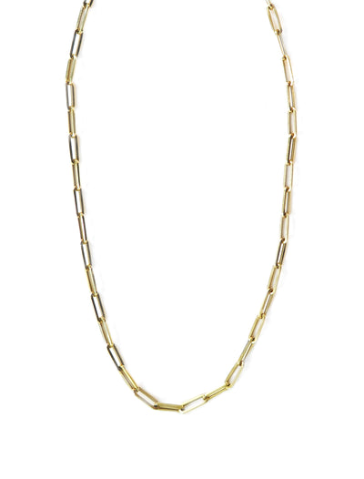 Unique paperclip necklace in yellow gold chain