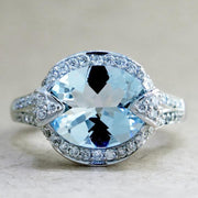 Petra 3.2ct Aquamarine & Diamond <br/>  Engagement Ring