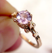 Unique Pink Sapphire Engagement Ring in Rose Gold with Vintage Details
