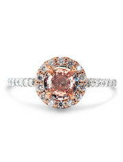 Poet Peach Sapphire & Diamond Halo <br/> Engagement Ring
