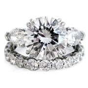 Portia Diamond Three Stone Engagement Ring & Constance Diamond Eternity Band by Dana Walden Bridal NYC