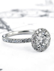 The perfect diamond & platinum halo custom designed in nyc - Primrose Side Profile