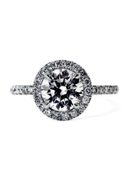 The perfect diamond halo with delicate band and conflict free diamond custom designed in nyc - Primrose