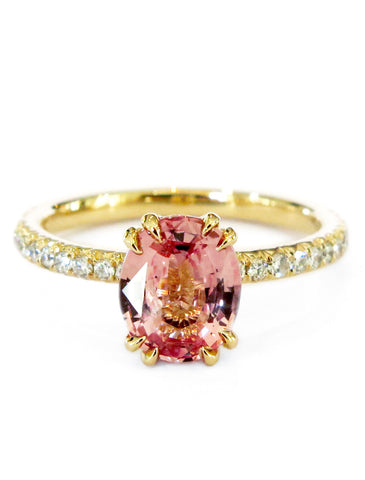 Priya Padparadscha Sapphire Engagement Ring in Yellow Gold with Delicate Micro-Pavé Diamonds by Dana Walden Bridal, NYC