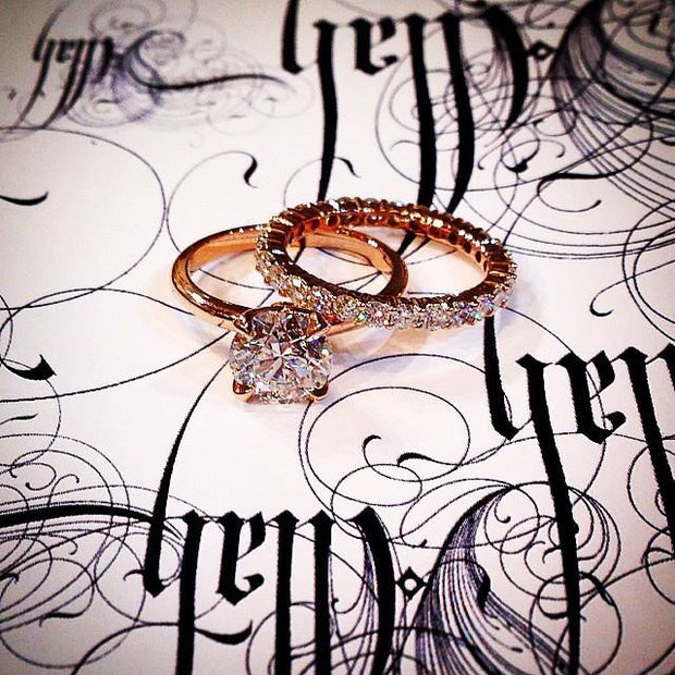 Astrid Diamond Solitaire & Constance Rose Gold Eternity Band by Dana Walden Bridal NYC