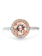 Sacha 1ct Morganite Mixed Metal Halo<br/> Engagement Ring