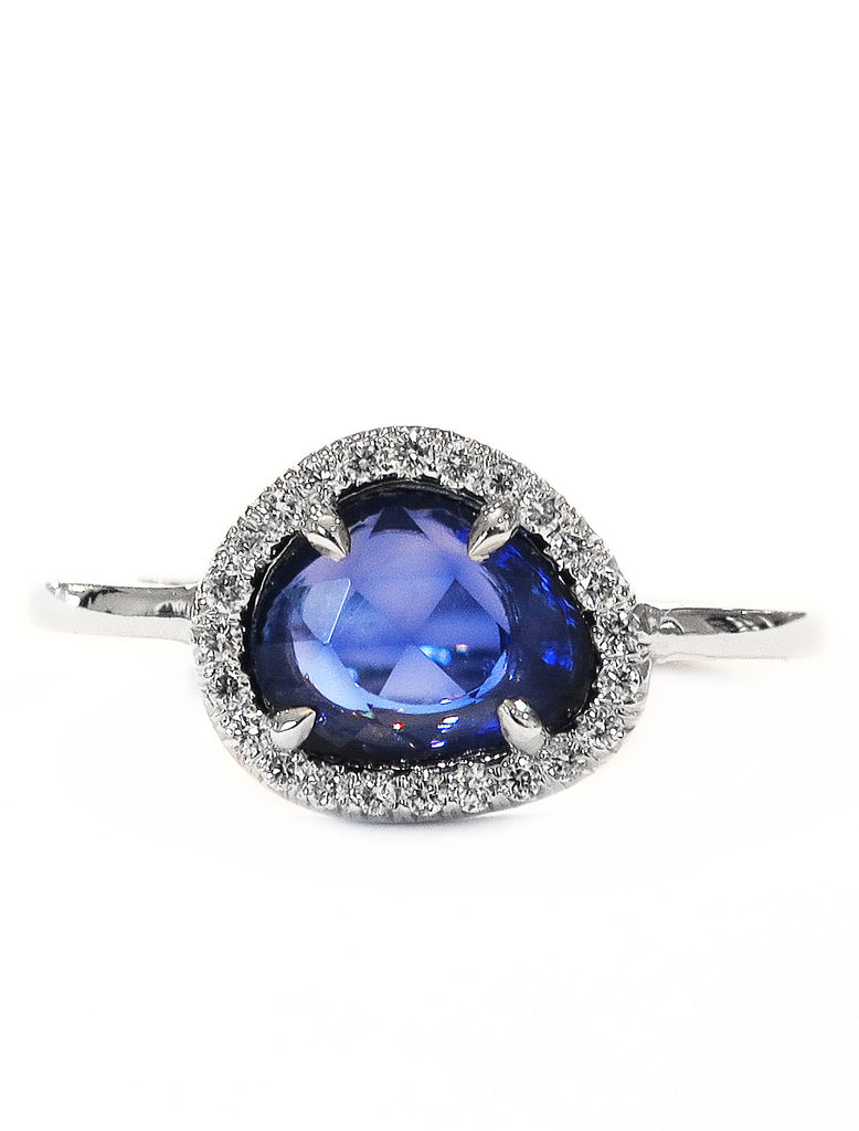 french carat cut and no sapphire halo diamond heat ring rose