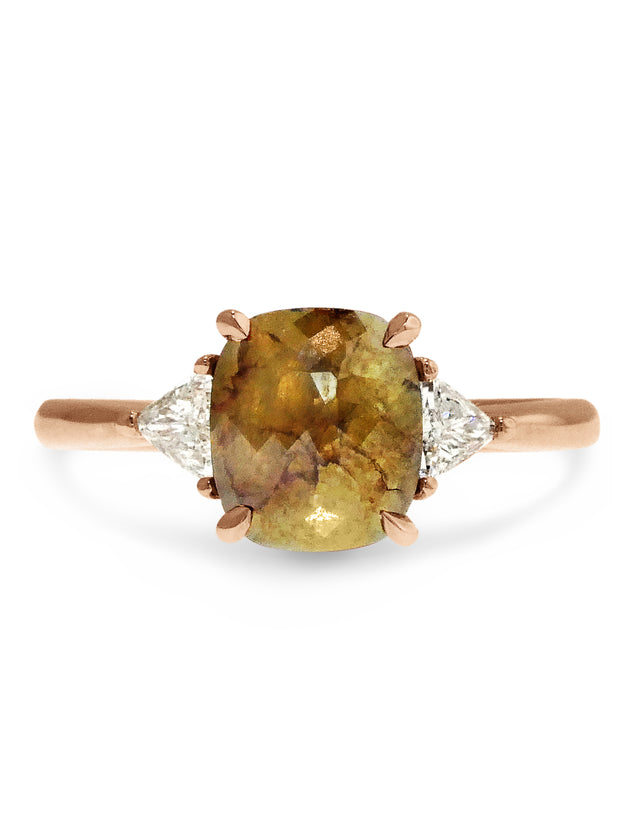 Unique 1.21 Carat Rustic Yellow Diamond Engagement Ring in Rose Gold with Trillion Diamonds