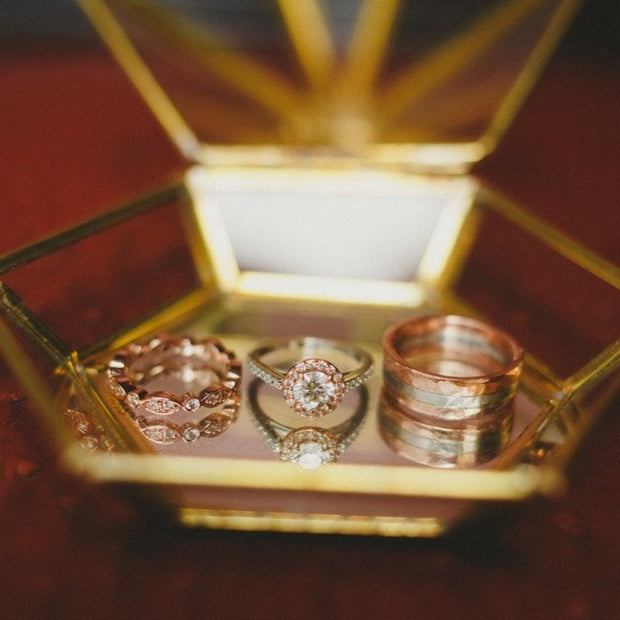 unique rose gold and diamond bridal set by Dana Walden Bridal NYC