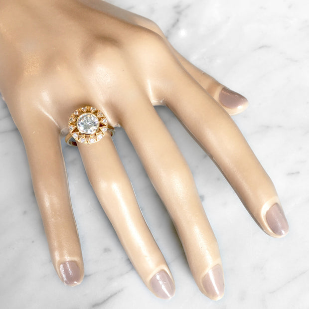Unique diamond engagement ring in yellow gold with vintage accents on hand - Sienna