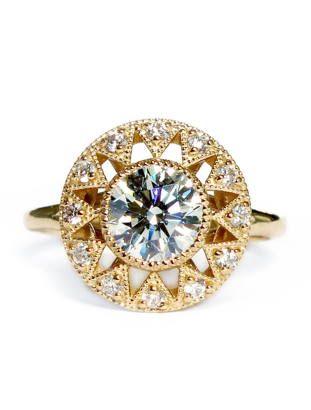 Unique diamond engagement ring in yellow gold with deco vintage inspired accents - Sienna