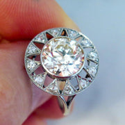 Vintage inspired diamond engagement ring in platinum handmade in nyc with conflict-free diamonds - Sienna