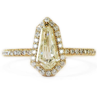 Silvana Custom Kite Shaped Diamond Halo in Yellow Gold