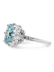 Skyy aquamarine engagement ring in unique vintage design in white gold side profile