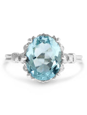 Skyy unique 3 carat aquamarine engagement ring in vintage inspired design 14k white gold