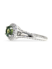 Spring 1.42ct Green Sapphire Halo <br/> Engagement Ring