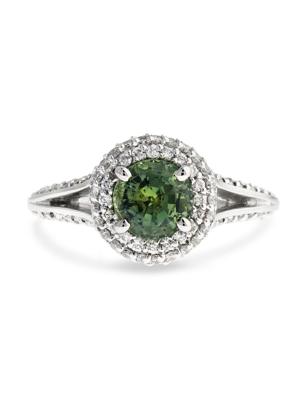 green sapphire engagement ring with a double halo and split shank, designed by dana walden bridal