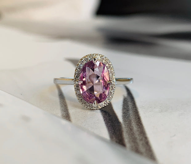 Purple Sapphire Halo Engagement Ring in White Gold - NYC