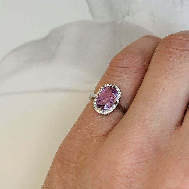 Purple Sapphire Halo Engagement Ring in White Gold - NYC - Shown on finger