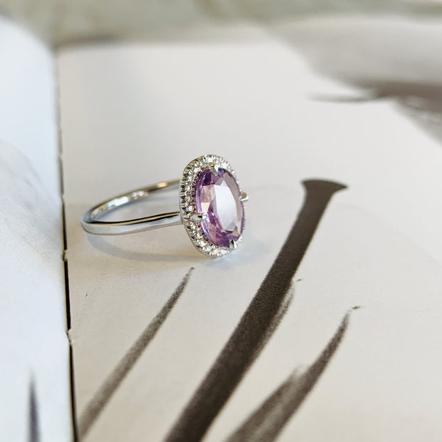 Purple Sapphire Halo Engagement Ring in White Gold - NYC - Side view