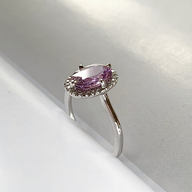 Purple Sapphire Halo Engagement Ring in White Gold - Side View