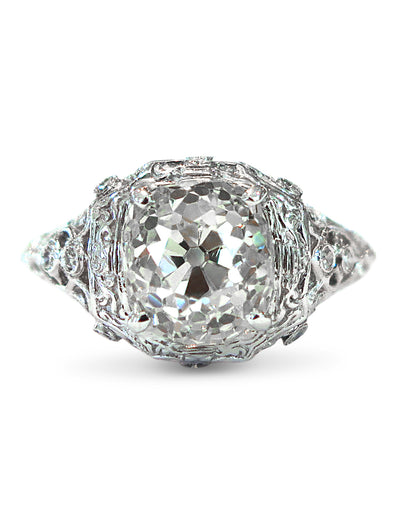 Unique Old Mine Cut Engagement Ring in Ornate Filigree Platinum Setting in NYC
