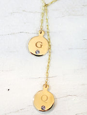Customized Initial & Birthstone Lariat Necklace in Yellow Gold